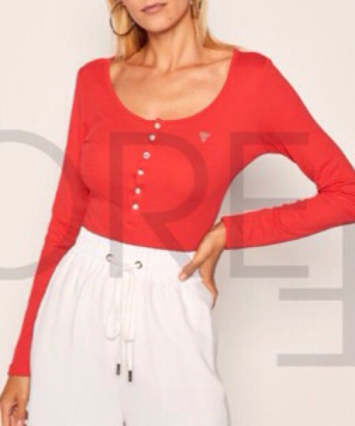 T-shirt Guess manica lunga, bottoni gioiello, logo brillantini