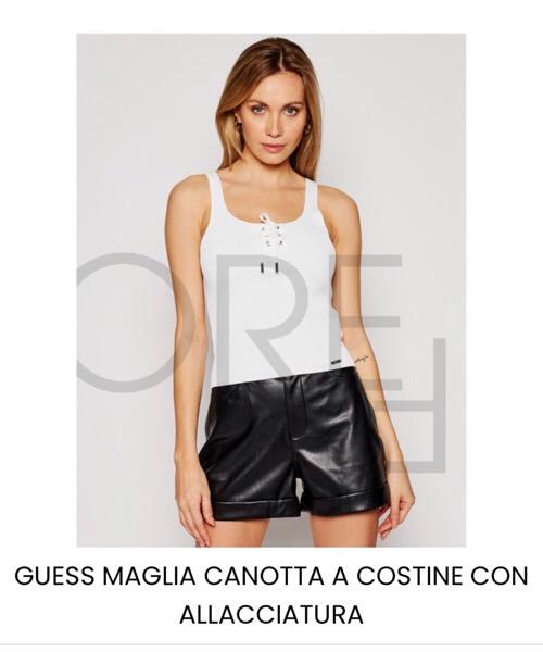 GUESS CANOTTA MAGLIA A COSTINE CON ALLACCIATURA